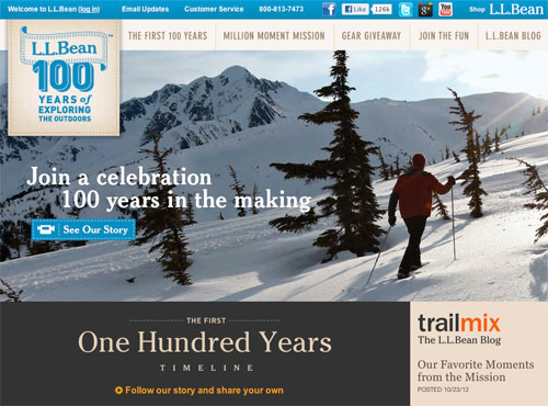 L.L. Bean: 100th Anniversary Site